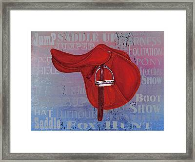 English Saddle - Blue Tones Framed Print