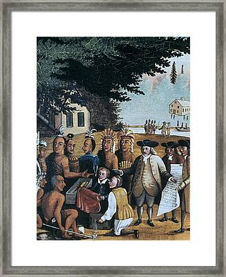 English Settlers Dealing With Indian Framed Print by Everett