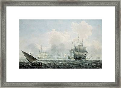 English Ships Of War Framed Print by Robert Cleveley