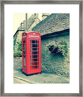 English Telephone Box Framed Print by Marie  Cardona