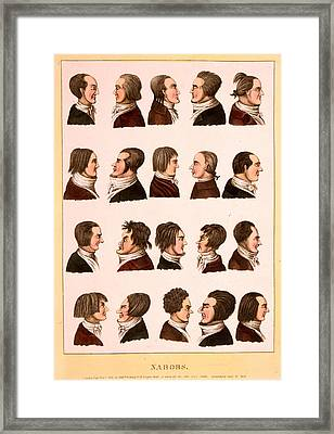 Engraving 1811, Profile Portraits Of 20 Men Framed Print
