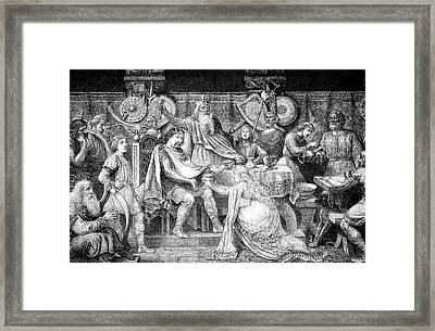 Engraving Of Medieval English Feast Framed Print