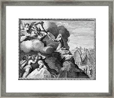 Engraving Of Moses Receiving The Ten Framed Print