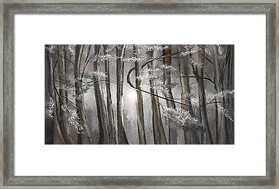 Enigmatic Woods- Shades Of Gray Art Framed Print