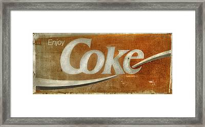 Enjoy Coke - Vintage Sign No 1 Framed Print by Thomas Schoeller