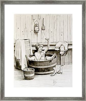 Bawdy Lady Bath - 1890's Framed Print
