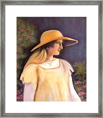 Enjoying A Beautiful Garden Framed Print