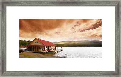 Enjoying A Mountain Lake View Framed Print by Don Hammond