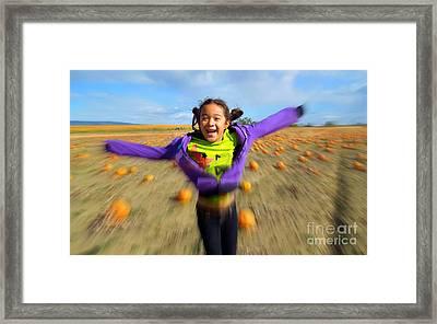 Enjoying Pumpkin Patch Framed Print