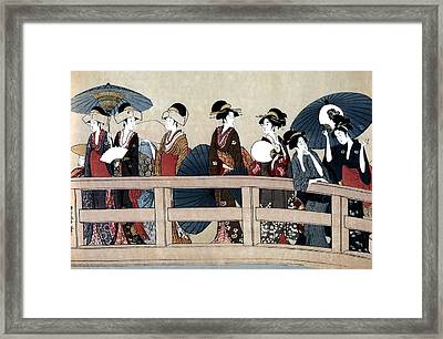 Enjoying The Cool At The Ryogoku Bridge II Framed Print