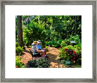 Loving Couple Enjoying Their Prayer Garden Framed Print