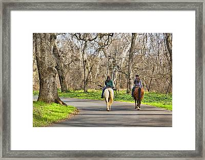 Enjoying The Scenery In Bidwell Park Framed Print