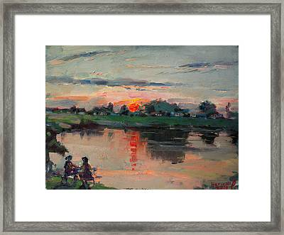 Enjoying The Sunset By Elmer's Pond Framed Print