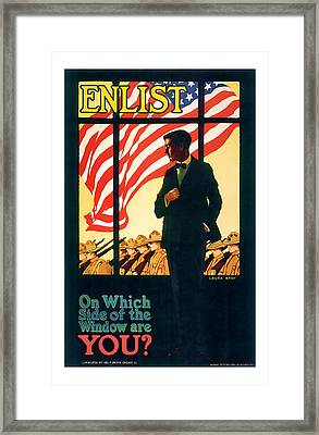 Enlistment World War 1 Elistment Art Framed Print by Presented By American Classic Art