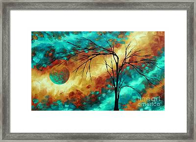 Enormous Abstract Art Brilliant Colors Original Contemporary Painting Reaching For The Moon Madart Framed Print by Megan Duncanson