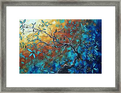 Enormous Abstract Bird Art Original Painting Where The Heart Is By Madart Framed Print