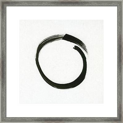 Enso #1 - Zen Circle Minimalistic Black And White Framed Print by Marianna Mills