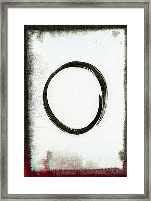 Enso #2 - Zen Circle Abstract Black And Red Framed Print by Marianna Mills