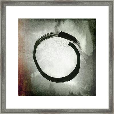 Enso #3 - Zen Circle Abstract Red And Black Framed Print by Marianna Mills
