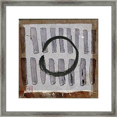 Enso Circle On Japanese Papers Framed Print by Carol Leigh