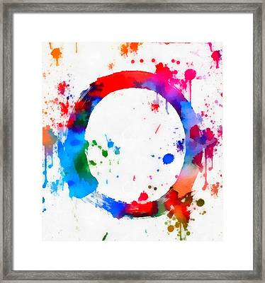 Enso Circle Paint Splatter Framed Print by Dan Sproul