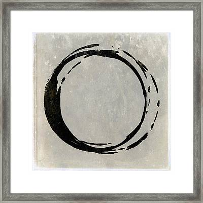 Enso No. 107 Black On Taupe Framed Print