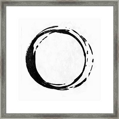Enso No. 107 Black On White Framed Print