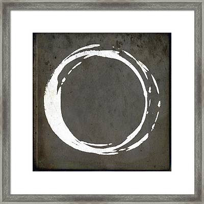 Enso No. 107 Gray Brown Framed Print