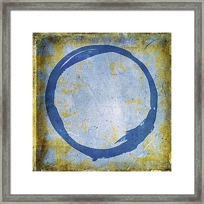 Enso No. 109 Blue On Blue Framed Print