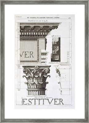 Entablature, Capital And Inscription Framed Print by Antoine Babuty Desgodets