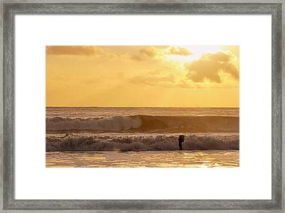 Framed Print featuring the photograph Enter The Surfer by AJ  Schibig