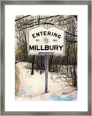 Entering Millbury Framed Print