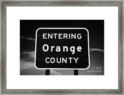 Entering Orange County Near Orlando Florida Usa Framed Print by Joe Fox