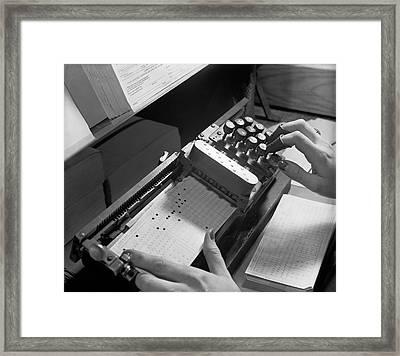 Entering Punch Card Data Framed Print