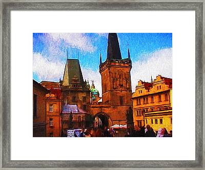 Entering The Old Town Framed Print