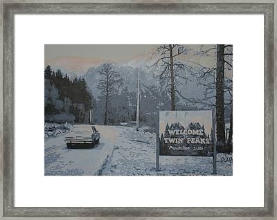 Entering The Town Of Twin Peaks 5 Miles South Of The Canadian Border Framed Print