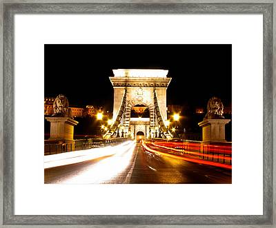 entering to the Chain Bridge- Budapest Framed Print by Mahsa Watercolor Artist