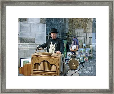 Street Musician In Aachen Germany Framed Print by Anthony Morretta
