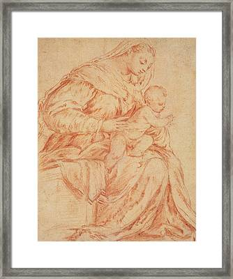 Enthroned Madonna And Child Framed Print by Jacopo Bassano