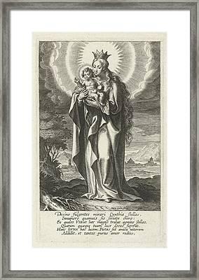 Enthroned Virgin And Child, Print Maker Cornelis Galle Framed Print
