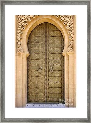 Entrance Door To The Mausoleum Mohammed V Rabat Morocco Framed Print by Ralph A  Ledergerber-Photography