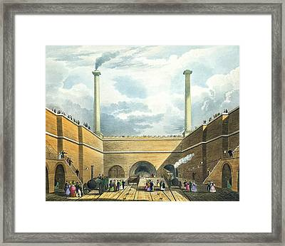 Entrance Of The Railway At Edge Hill Framed Print by Thomas Talbot Bury