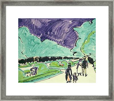 Entrance To A Large Garden In Dresden Framed Print by Ernst Ludwig Kirchner