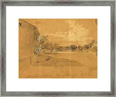 Entrance To Gettysburg, Sharpshooting From The Houses Framed Print by Quint Lox
