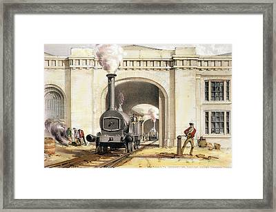 Entrance To Locomotive Engine House Framed Print by John Cooke Bourne