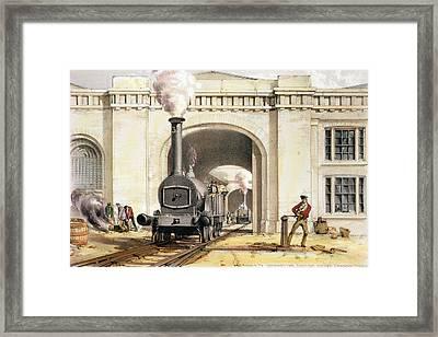 Entrance To Locomotive Engine House Framed Print