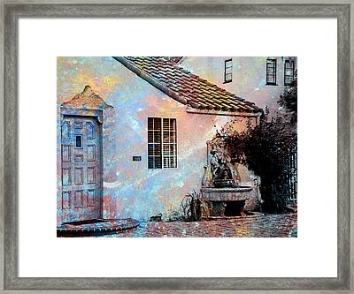 Framed Print featuring the photograph Entrance To Stucco Spanish Style House by John Fish