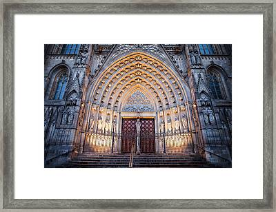 Entrance To The Barcelona Cathedral At Night Framed Print by Artur Bogacki
