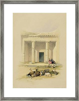 Entrance To The Caves Of Bani Hasan Framed Print by David Roberts