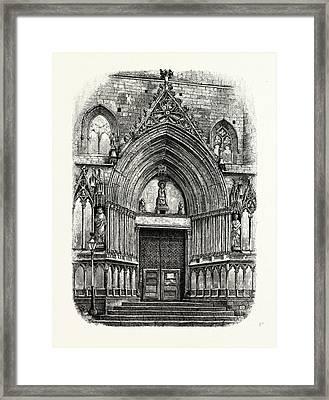 Entrance To The Church Of Santa Maria Del Mar Framed Print